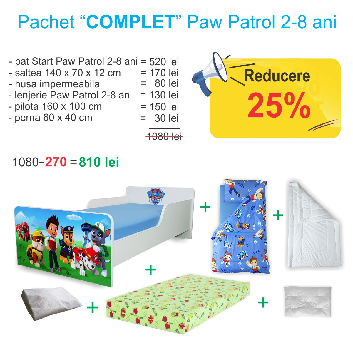 Pachet Promo COMPLET Start Paw Patrol 2-8 ani