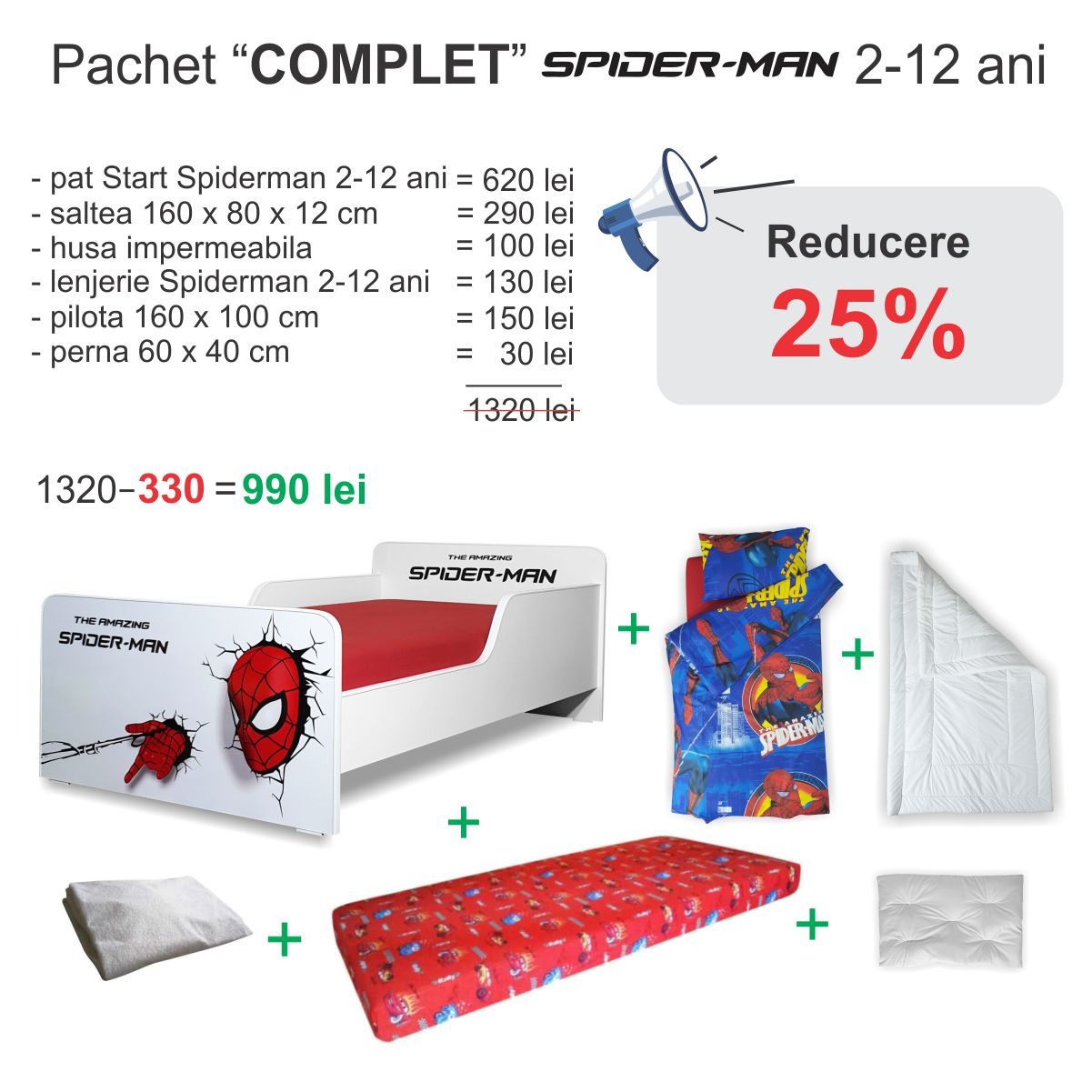 Pachet Promo Complet Start Spiderman 2-12 ani
