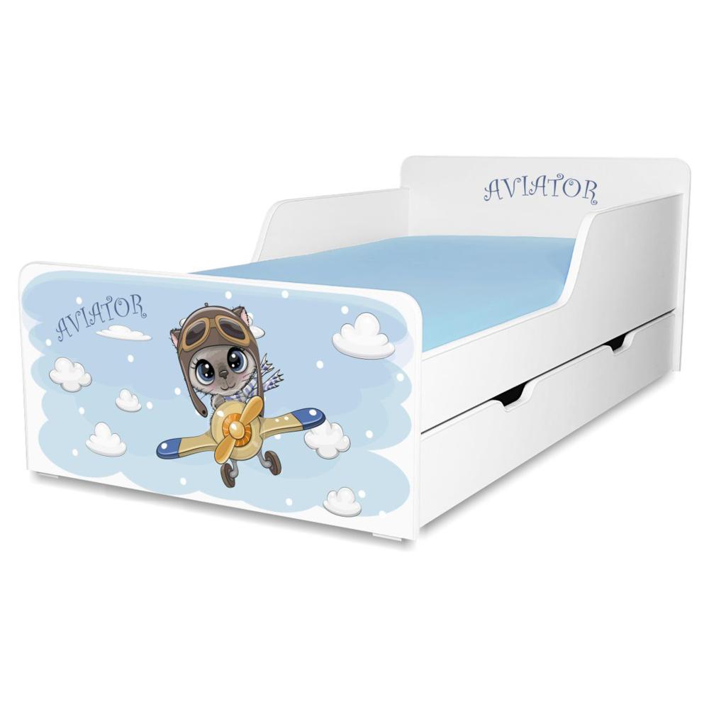 Pat copii Aviator 2-12 ani cu sertar