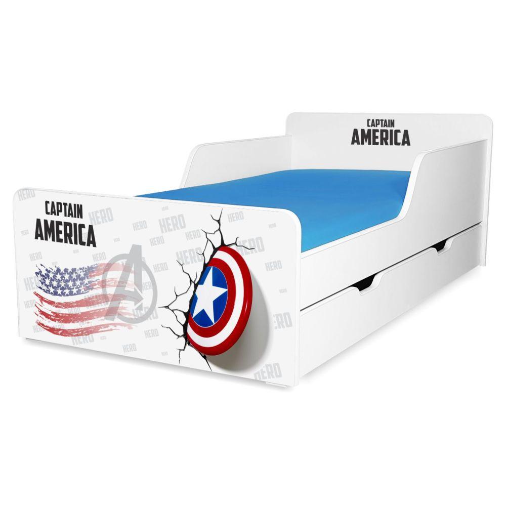 Pat copii Captain America 2-12 ani cu sertar
