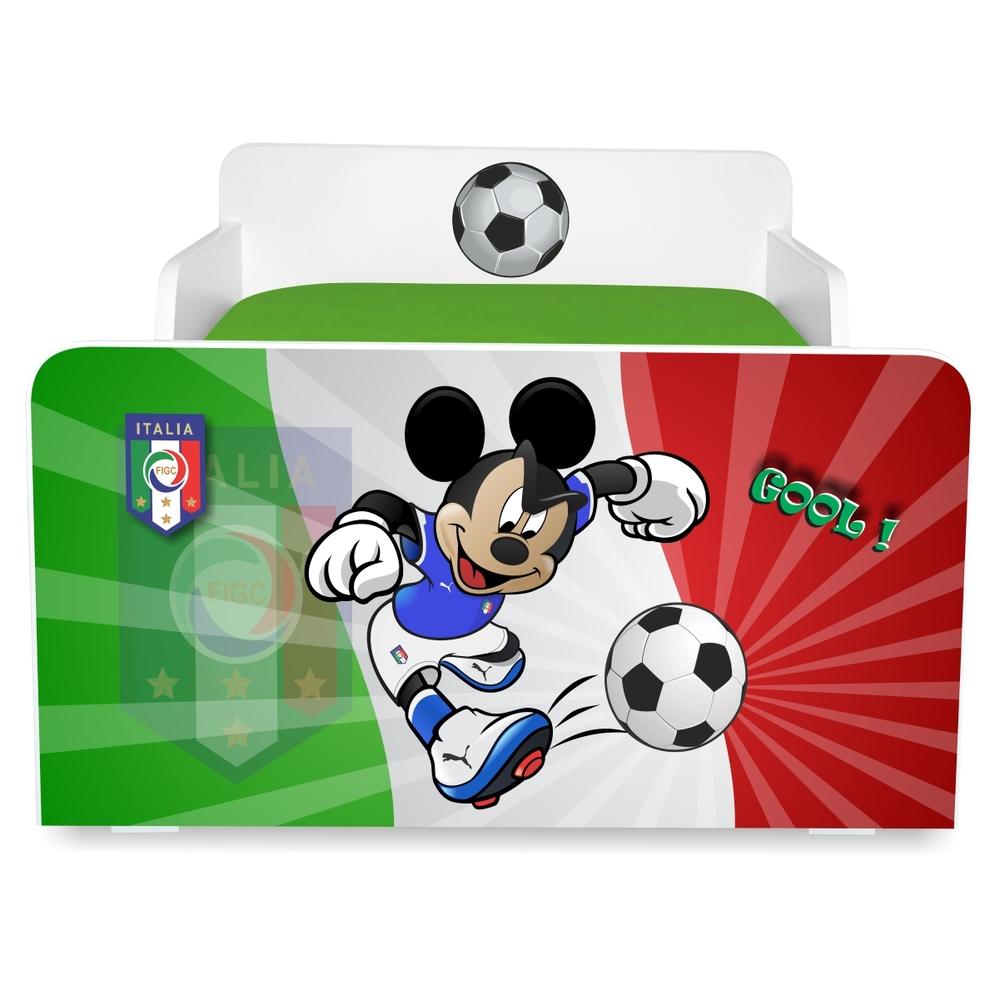 Pat copii Fotbal Italia 2-12 ani cu sertar si saltea cadou
