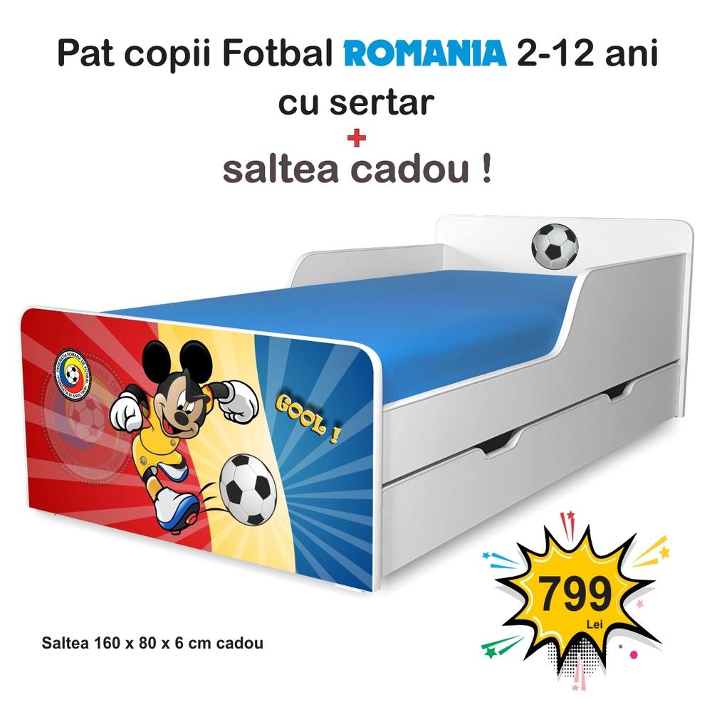 Pat copii Fotbal Romania 2-12 ani cu sertar si saltea cadou