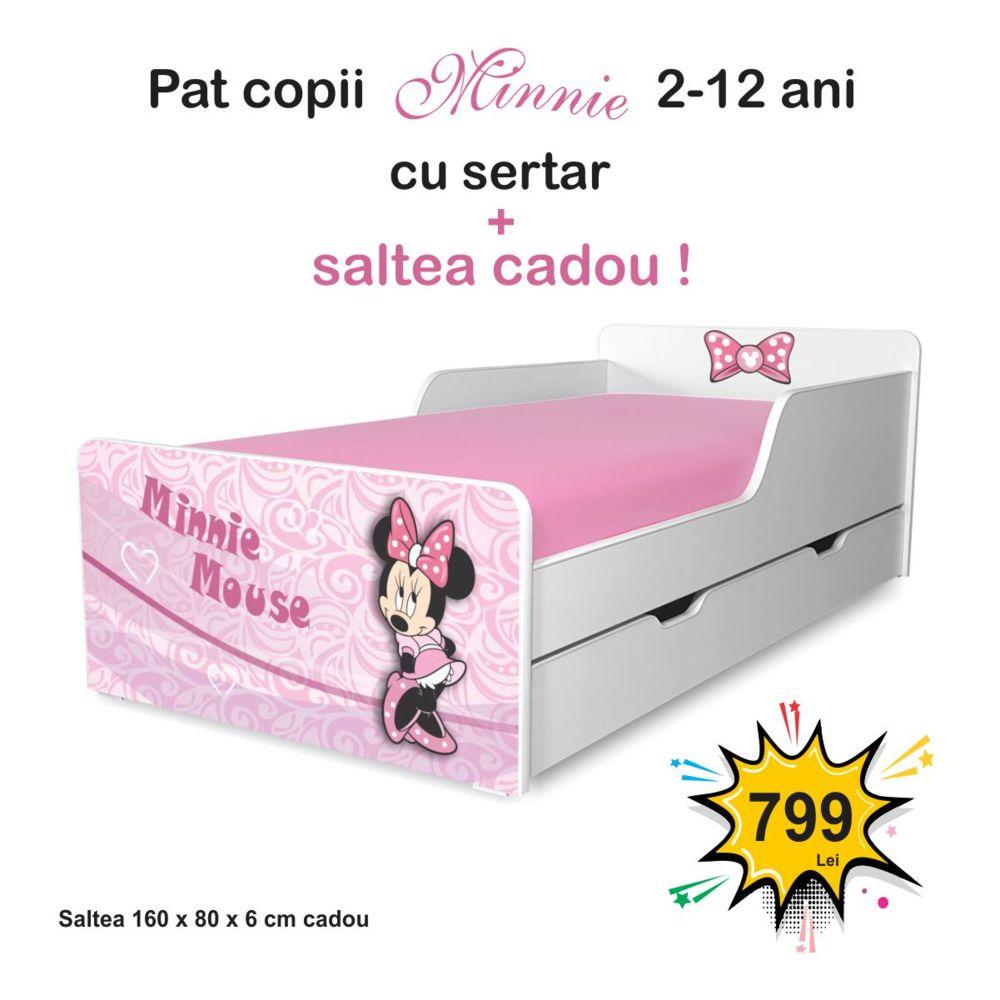 Pat copii Minnie 2-12 ani cu sertar si saltea cadou