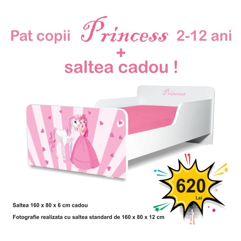 Pat copii Princess 2-12 ani cu saltea cadou
