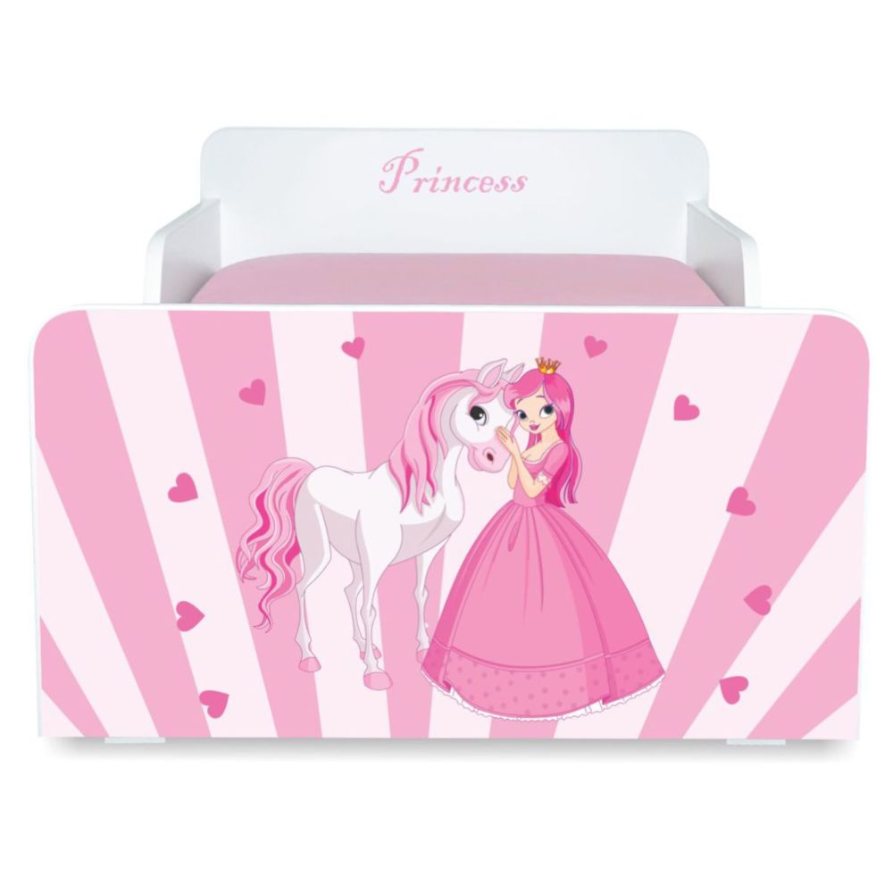 Pat copii Princess Pony 2-12 ani cu sertar si saltea cadou