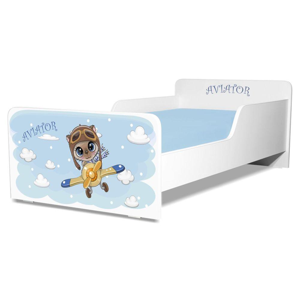 Pat copii Start Aviator 2-12 ani cu saltea cadou