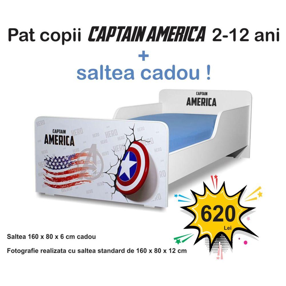 Pat copii Start Captain America 2-12 ani cu saltea cadou