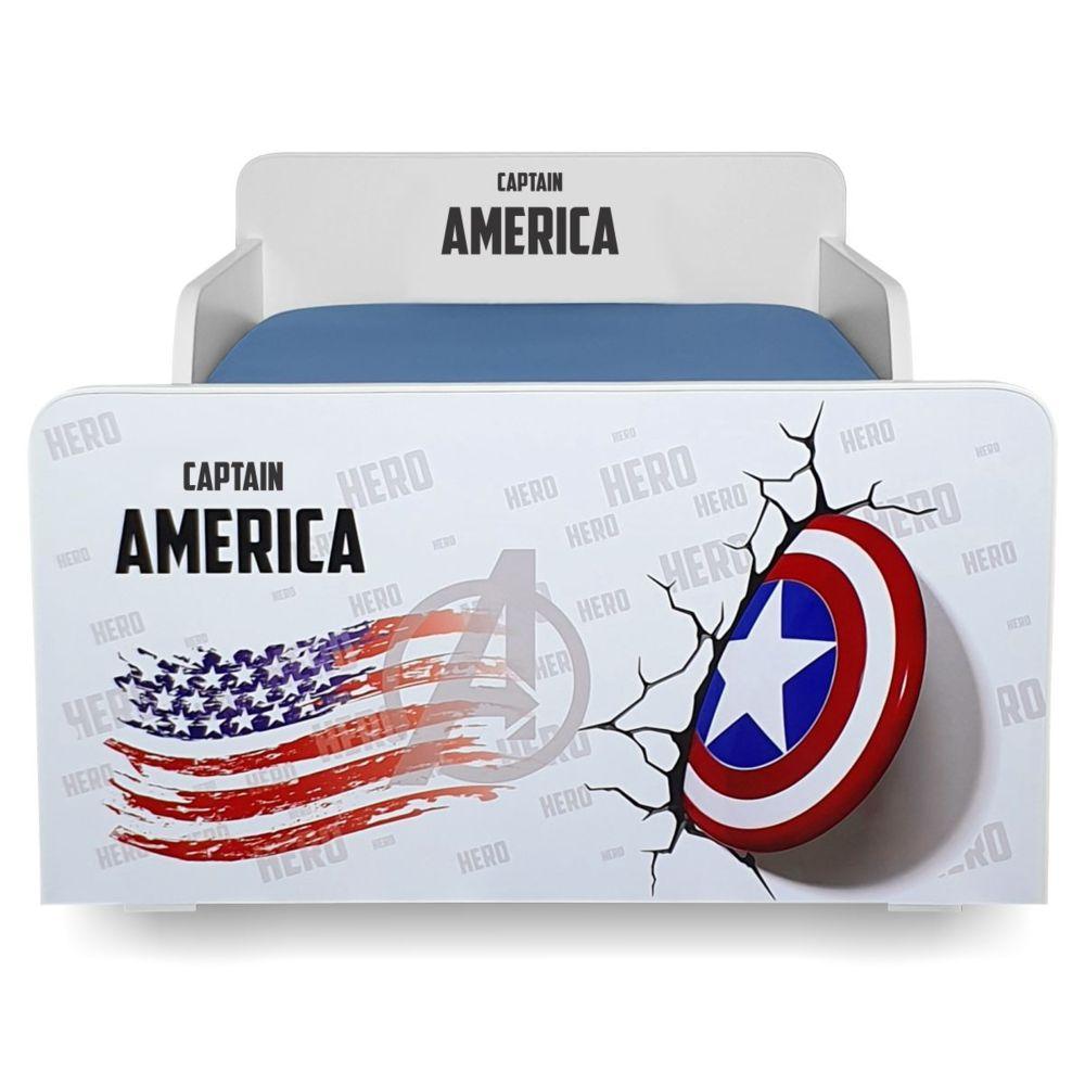 Pat copii Start Captain America 2-8 ani cu saltea cadou
