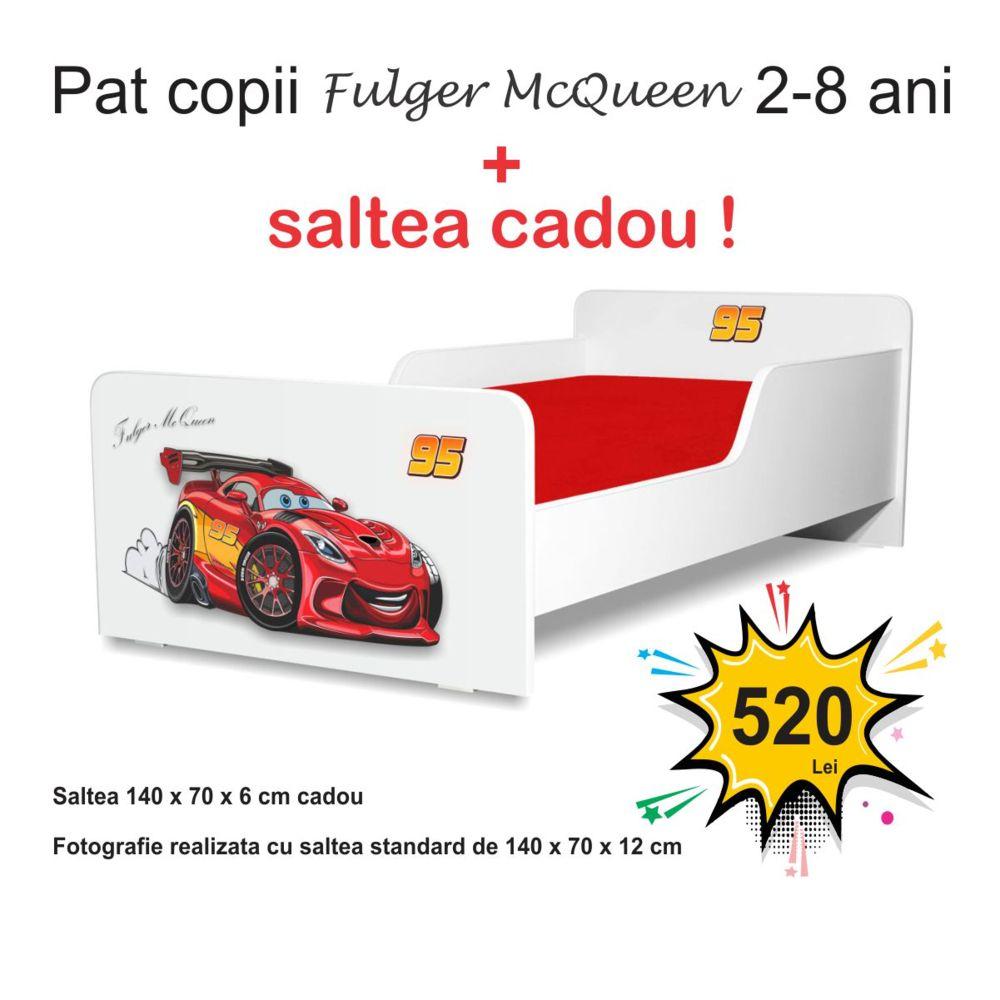 Pat copii Start Fulger McQueen 2-8 ani cu saltea cadou
