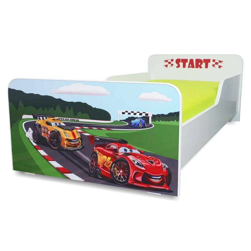 Pat copii Start Racing 2-12 ani cu saltea cadou