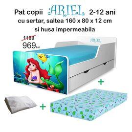 Pat copii Ariel 2-12 ani cu sertar, saltea si husa impermeabila