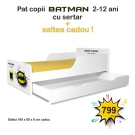 Pat copii Batman 2-12 ani cu sertar si saltea cadou