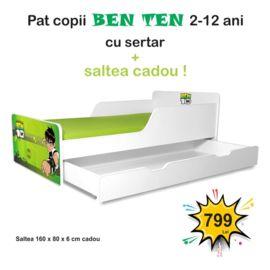 Pat copii Ben Ten 2-12 ani cu sertar si saltea cadou