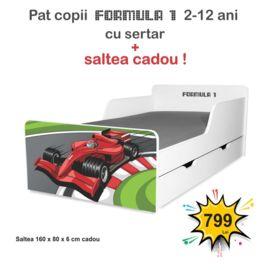 Pat copii Formula 1 2-12 ani cu sertar si saltea cadou