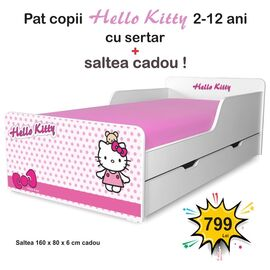 Pat copii Hello Kitty 2-12 ani cu sertar si saltea cadou