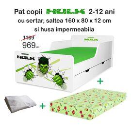 Pat copii Hulk 2-12 ani cu sertar, saltea si husa impermeabila