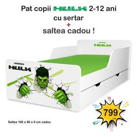 Pat copii Hulk 2-12 ani cu sertar si saltea cadou