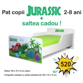 Pat copii Jurassic 2-8 ani cu saltea cadou