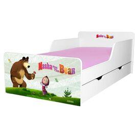 Pat copii Masha 2-12 ani cu sertar si saltea cadou