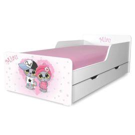 Pat copii Miau 2-12 ani cu sertar si saltea cadou