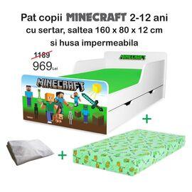 Pat copii Minecraft 2-12 ani cu sertar, saltea si husa impermeabila