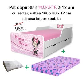 Pat copii Minnie 2-12 ani cu sertar, saltea si husa impermeabila