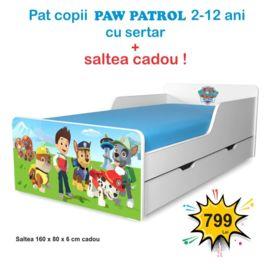 Pat copii Paw Patrol 2-12 ani cu sertar si saltea cadou