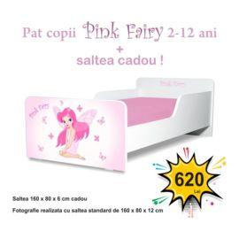 Pat copii Pink Fairy 2-12 ani cu saltea cadou
