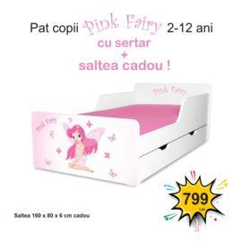 Pat copii Pink Fairy 2-12 ani cu sertar si saltea cadou
