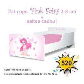 Pat copii Pink Fairy 2-8 ani cu saltea cadou