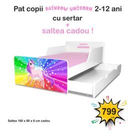 Pat copii Rainbow Unicorn 2-12 ani cu sertar si saltea cadou