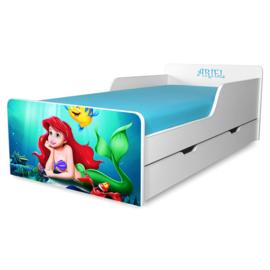 Pat copii Sirena Ariel 2-12 ani cu sertar si saltea cadou