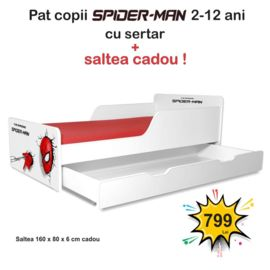 Pat copii Spiderman 2-12 ani cu sertar si saltea cadou