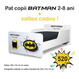 Pat copii Start Batman 2-8 ani cu saltea cadou