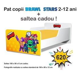 Pat copii Start Brawl Stars 2-12 ani cu saltea cadou