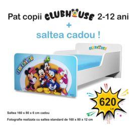 Pat copii Start ClubHouse Baieti 2-12 ani cu saltea cadou