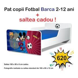 Pat copii Start Fotbal Barca 2-12 ani cu saltea cadou