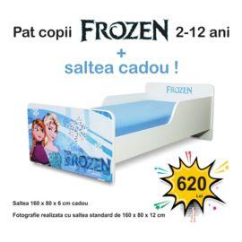 Pat copii Start Frozen 2-12 ani cu saltea cadou