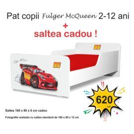 Pat copii Start Fulger McQueen 2-12 ani cu saltea cadou