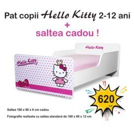 Pat copii Start Hello Kitty 2-12 ani cu saltea cadou