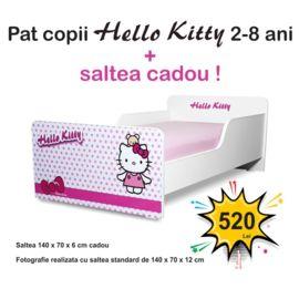 Pat copii Start Hello Kitty 2-8 ani cu saltea cadou