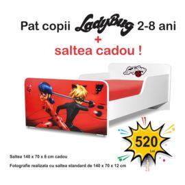 Pat copii Start LadyBug 2-8 ani cu saltea cadou