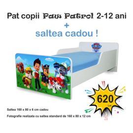 Pat copii Start Paw Patrol 2-12 ani cu saltea cadou