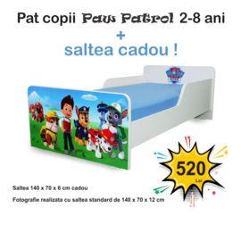 Pat copii Start Paw Patrol 2-8 ani cu saltea cadou