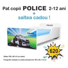 Pat copii Start Police 2-12 ani cu saltea cadou