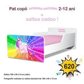 Pat copii Start Rainbow Unicorn 2-12 ani cu saltea cadou