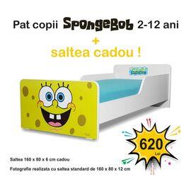 Pat copii Start Sponge Bob 2-12 ani cu saltea cadou
