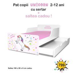Pat copii Unicorn 2-12 ani cu sertar si saltea cadou