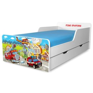 Pat copii Fire Station 2-12 ani cu sertar
